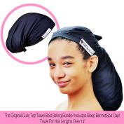 The Original Curly Tee Towel - T-Shirt Hair Drying Towel Wrap and Sleep Bonnet/Spa Cap Bundle! Extra Long - For Hair Lengths Over 36cm