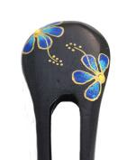 Hawaiian Light Blue Flower Areng Wood Hair Stick