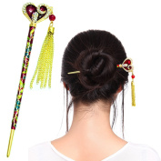 Fashion & Lifestyle Hair Style Decor Hair Sticks Shawl Pins Picks Pics Forks for Women Girls Hair Accessory 15cm with Enamel Floral, Red