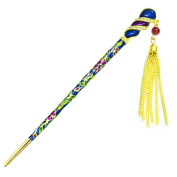 YOY Fashion Long Hair Decor Chinese Traditional Style Hair Stick Hair Pin for Women Girls Hair Making Accessory with Enamel Floral 16cm , Blue