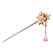 Eastlion Retro Painted Flower Hairpin Tassel Chinese Stick Multicoloured