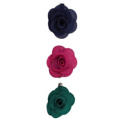 Lux Accessories Fabric Flower Clips Blue Pink