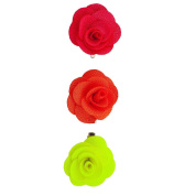 Lux Accessories Fabric Flower Clips Green Coral