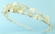 Enchanting Tiara of Hand-wired porcelain flowers, Austrian crystals and rhinestones, bugle beads, and pearls for Wedding, Prom, Quinceañera or Other Special Events #83B0ig
