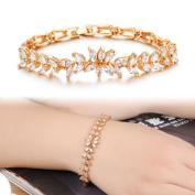 Classy Women Zircon Fine Rhinestone Plated Gold Wheat Handmade Trinkets Bracelet
