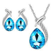 Crystal Women Silver Plated Chain Necklace+Stud Earring Jewellery
