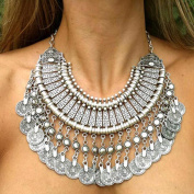 Classy Bohemian Coin Statement Bib Necklace Festival Chocker