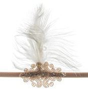 Linda Ann's Champagne Flapper 1920's Beaded Applique, Feather, Plain Headband