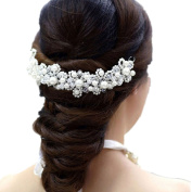 OVERMAL New Arrival Hair White Pearl Crystal Bride Headdress By Hand Wedding Dress Accessories Bridal Hair Jewellery