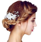 Sunshiny Bridal Hair Flower Side Comb Barrette Headpiece Wedding Accessory