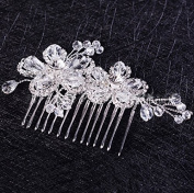 Sunshiny Bridal Wedding Hair Comb Flower Cluster Clear Austrian Crystal Hair Clip Comb Pin