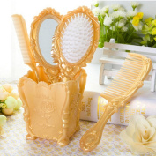 Dolovemk | Cosmetic Classical Make-up Hand Hair Comb Mirror Set, Vintage Hair Brushes Ideal Gift, 3 Hair Combs and 1 Mirror