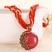 A & C Fashion and Charm Red Peacock Bohemia Necklace for Women. Indian Weave Necklace for Girl.