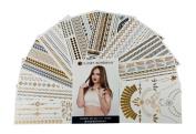 Premium Temporary Metallic Body & Hair Tattoos - 100+ Beautiful Tattoo Designs on 10 Sheets