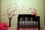 "Pop Decors ""Black/Pink/White Go Right Drifting Flowers and Birds"" Beautiful Wall Stickers for Kids Rooms"