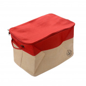 GreenForest Home Organising Basket Canvas Foldable Storage Tote Basket Bin, Red