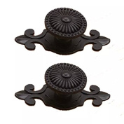 CSKB Black 2pcs*7.4cm Floral Emboss Door Knob Zinc Alloy Drawer Pull Handle For Cabinet/Cupboard/Wardrobe Kitchen Hardware Home Decoration