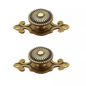 CSKB Golden 2pcs*7.4cm Floral Emboss Door Knob Zinc Alloy Drawer Pull Handle For Cabinet/Cupboard/Wardrobe Kitchen Hardware Home Decoration