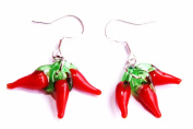 Mothers Day gift Handmade Lampwork Red Pepper Chilli Glass Charm earrings!