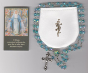 Our Lady of Grace Turquoise Rosary with Pouch and Holy Card