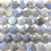 Faceted Natural colour labradorite Coin Gemstone Loose Beads for DIY Jewellery Making (12mm)