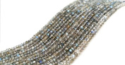 "Natural Blue Fire Labradorite Gemstone Faceted Rondelle 3-4mm 13.5-14""Long Beads"