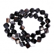 """AAA Natural Black Brown Stripe Agate Gemstone 8mm Cube Loose Beads Spacer Beads For Jewellery Making 15.5"""" (1 strand) GY2C1"""