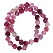 """AAA Natural Fuchsia Stripe Agate Gemstone 8mm Cube Loose Beads Spacer Beads For Jewellery Making 15.5"""" (1 strand) GY2C4"""