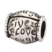 5 x Live Love Laugh Charms Beads Antique Silver Tone Fits Pandora Biagi Troll Chamilla Other European Charm Bracelet #MEC-52