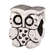 5 x Owl King Charms Beads Antique Silver Tone Fits Pandora Biagi Troll Chamilla Other European Charm Bracelet #MEC-11