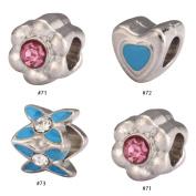 6pcs Mixed Charms Beads Enamel & Antique Silver Tone Fits Pandora Biagi Troll Chamilla Other European Charm Bracelet #MEC71-73