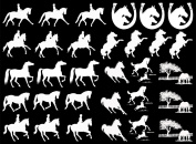 Horse Play 2.5cm - 3.2cm - White 16CC586 Fused Glass Decals