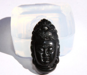 Clear silicone Amulet Pendant mould. The statue of Guanyintou. Size 39x20 MM.