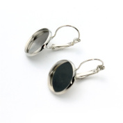 Linsoir Beads F3325 Brass Made French Lever Back Earrings Base-20mm Cabochon Settings,10pcs/lot,Rhodium Colour