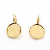 Linsoir Beads F3322 Brass Made French Lever Back Earrings Base-20mm Cabochon Settings,10pcs/lot,Gold Colour