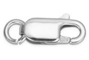 10 Pieces Sterling Silver Large Lobster Clasps With Open Ring Attached 5.2x13.7 mm