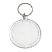 10 Clear Acrylic Snap In Round Photo Key Rings 7.9cm x 4.5cm