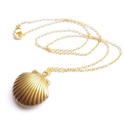 Sea Shell Locket, Mermaid Valentine Necklace, Beach Locket, Gold Tone Brass, Nautical Jewellery