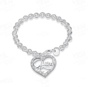 Hot Womans 925 Silver Peach Heart Bracelet Fashion Fine Jewellery