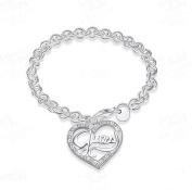 Hot Womans 925 Silver Peach Heart Bracelet Fashion Fine Jewellery
