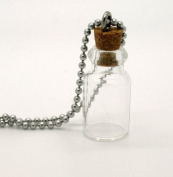 Mini Apothecary Keepsake Glass Bottle w/ Ball Chain Necklace