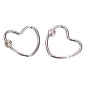Coolrunner Stainless Steel Unique Little Rhinestone Heart Cartilage Earring 1 Pairs