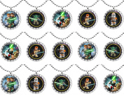 15 STAR WARS Flat Bottle Cap Necklaces for Birthday, Party Favours, Bag Fillers Set 2