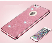 iPhone SE case,Inspirationc® Beauty Luxury Diamond Soft TPU Anti Scratch Protective Case Cover Skin Bumper with Electroplating Frame for iPhone SE/5S/5--Pink
