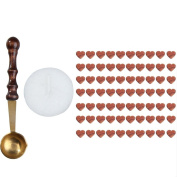 WinnerEco 1 Set Sealing Wax Beads Heart Shaped with Candle Mini Melting Spoon Brown