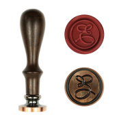 UNIQOOO Letter E Alphabet Vintage Retro Wax Seal Stamp Rosewood Handle Copper Head Initial Stamp