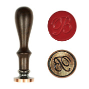 UNIQOOO Letter B Alphabet Vintage Retro Wax Seal Stamp Rosewood Handle Copper Head Initial Stamp