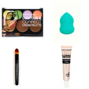 Contour & Correct Cream Palette with Illimuinating Cream, Blender Sponge, and Pro Make-up Brush Bundle