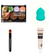 Contour & Correct Cream Palette with Illimuinating Cream, Blender Sponge, and Pro Make-up Brush Bundle