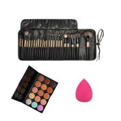 AutumnFall 15 Colour Concealer Palette + Sponge Puff + 24 PCS Cosmetic makeup brushes